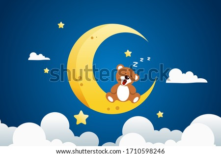 Sweet dream and Good night concept Background. teddy bear is sleeping on the moon. Space for your text. Use for your design. Stock photo ©