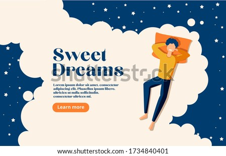 Sweet dreams, good health concept. Young man sleeps on side. Vector illustration of boy in bed, night sky, stars. Advert of mattress. Design template with pose of sleeping for flyer, layout Stockfoto ©