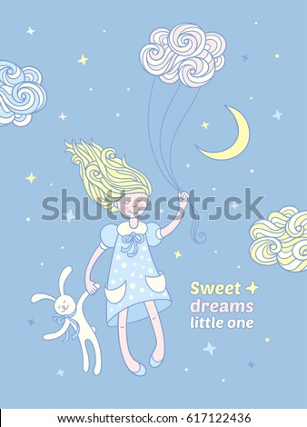 Stock Photo Sweet dreams little one. Cute little girl with blonde hair hold a bunny toy and fly with curly cloud in the night sky. Hand drawn illustration on blue background for kids good night card or poster.