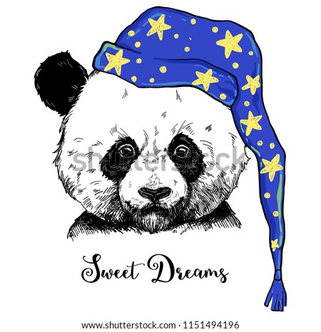 Sweet dreams phrase with panda illustration, can be used for greeting card, t-shirt design, print or poster