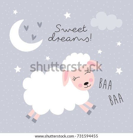 sweet dreams sheep vector