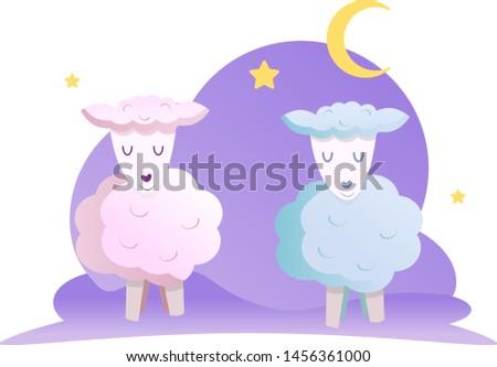 sweet dreams sheep vector