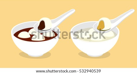 Sweet dumpling with black sesame and peanut paste filling in bowl, usually eat in Chinese New Year's Eve, Chinese Winter Solstice Festival, Mid-Autumn Festival or Lantern Festival
