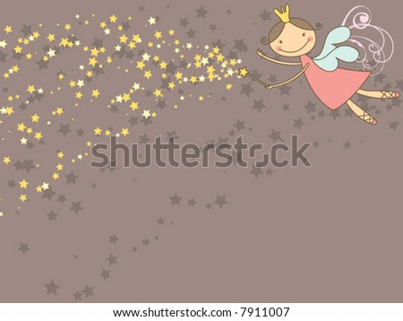 sweet fairy and glittering stars (vector)