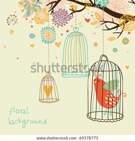 Sweet floral background with bird cage