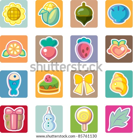 sweet food and drink icons set