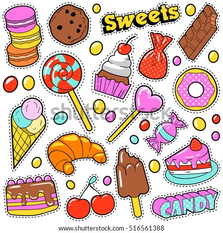 sweet food badges set with