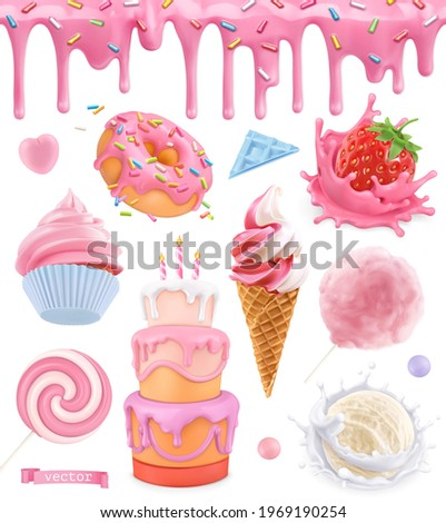 Sweet food. Cake, cupcake, cotton candy, ice cream, strawberry yogurt, donut. Pink glaze seamless pattern. 3d realistic vector set