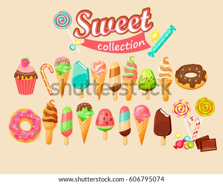 Sweet food icon collection. Vector illustration.