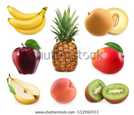 Sweet fruits. Banana, pineapple, apple, melon, mango, kiwi fruit, peach, pear. 3D vector icons set. Realistic illustrations
