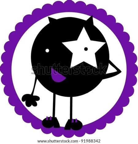 sweet funny little star thinking monster
