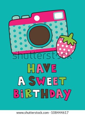 sweet happy birthday card. vector illustration