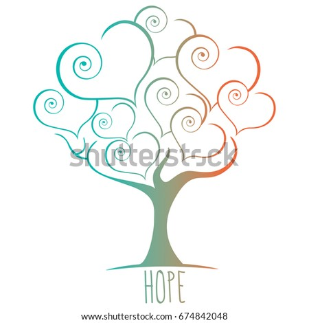 Sweet Hope tree vector illustration in pastel colors