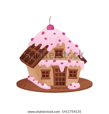 Sweet house with a roof and a door of waffles. Vector illustration on white background.
