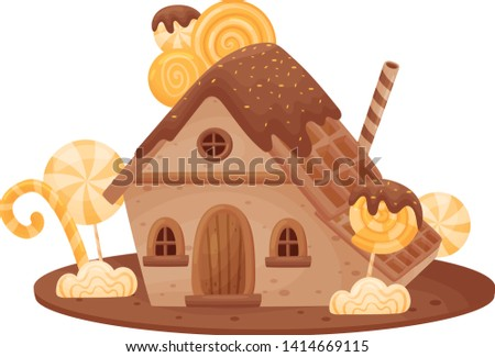 Sweet house with a roof of waffles. Vector illustration on white background.
