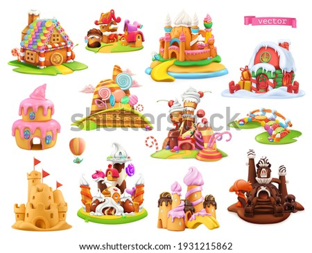 Sweet houses and castles. 3d vector cartoon objects