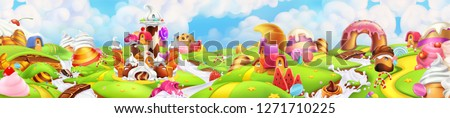 Sweet land. Panorama landscape, vector background