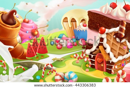 sweet landscape  vector