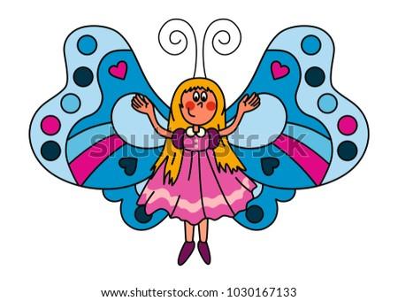 sweet little butterfly girl