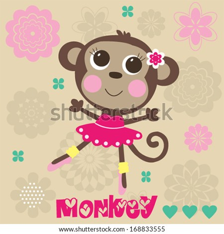 sweet little monkey girl balerina flowers vector illustration
