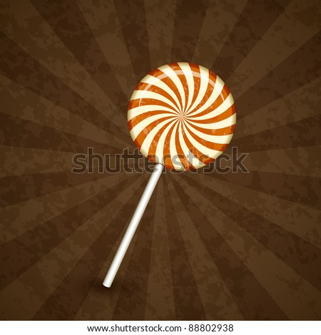 Sweet lollipop on striped spiral background