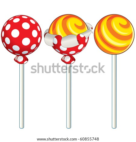 Sweet Lollipop unwrapping process, vector illustration
