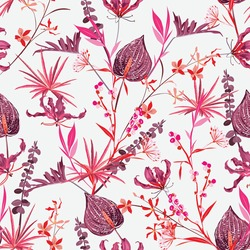 Sweet mood of Romantic Botanical Floral and wild Flowers blooming garden plants in shade of Pink Seamless Pattern vector EPS10,Design for fashion , fabric, textile, wallpaper, wrapping and