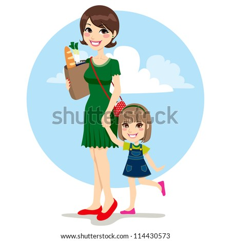 Sweet mother and cute daughter walking with bag from grocery store