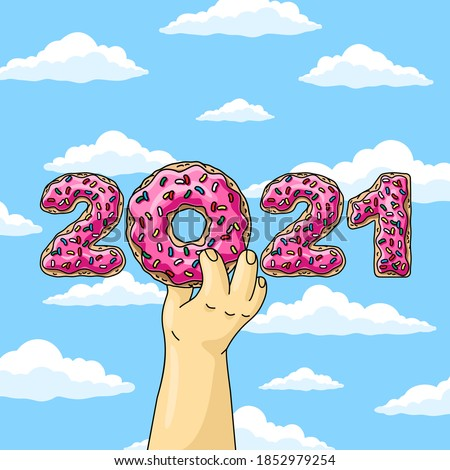 Sweet New Year 2021 from donuts, man holding cartoon donut with pink glaze against blue sky wish clouds.