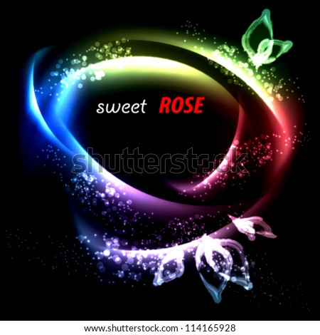 sweet night rose . abstract vector background - stock vector