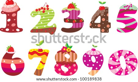 Sweet numbers. vector - stock vector