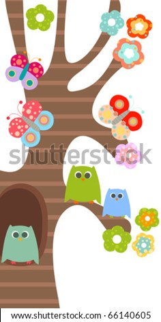 sweet owls, flowers and butterflies - stock vector