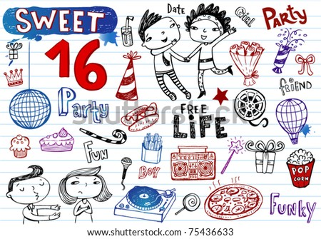 Sweet 16 party, doodle set - stock vector