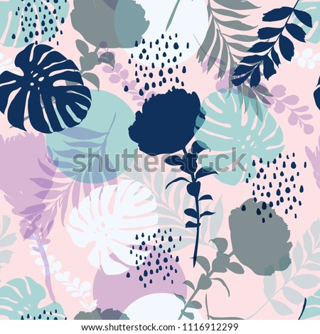 Sweet pastel color bright summer Silhouette Abstract seamless pattern with leaves and flowers Background with flowers vector on modern style on light pink