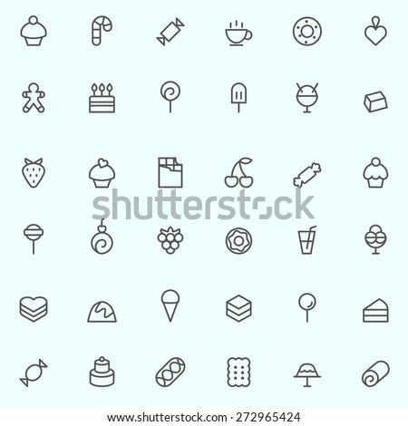 sweet pastry icons  simple and