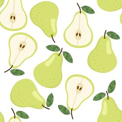 Sweet pear seamless pattern. Organic healthy fruits background.