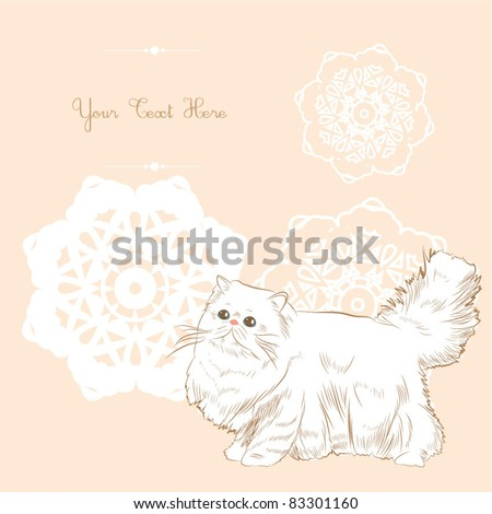sweet persian floral card - stock vector