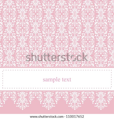 Sweet, pink card or invitation for party, birthday, baby shower with white classic elegant lace. Cute background with white space to put your own text message. Vector.