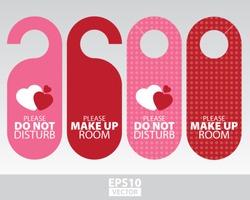 Sweet Pink Door Hangers for Wedding, Valentine, Romantic Room in Romantic Hotel and Resort- EPS10 Vector