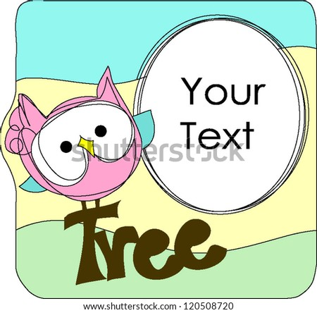 Sweet pink owl with blank box put your text