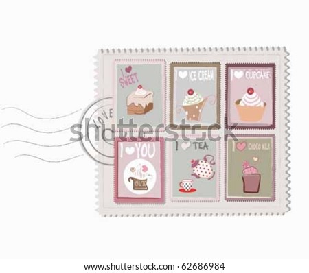sweet postage stamps - stock vector
