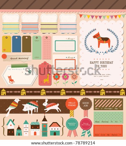 Sweet Scrapbook Elements. Perfect for Scrapbook, Sticker, Photo, Party, Card. Vector Illustration.