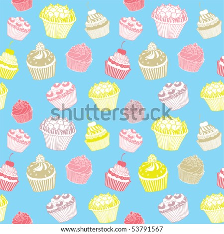 cupcakes cartoon background. ackground with cupcakes