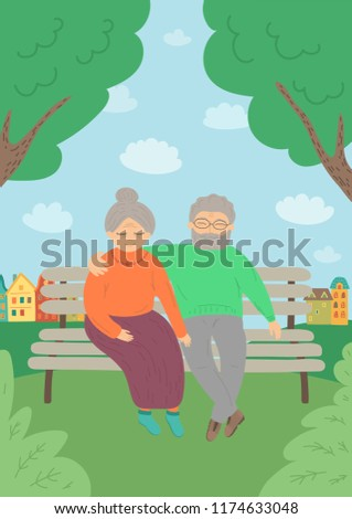 sweet senior couple sitting on