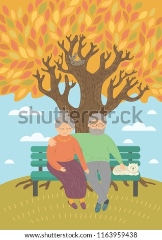 sweet senior couple sitting on