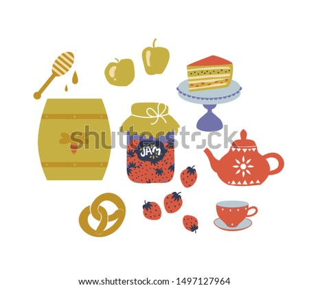 Sweet set in cartoon style, a barrel of honey, pretzel, sweets, pie on a stand, apples, strawberries, jam. Vector illustration. Scandinavian style cafe menu, banner, cookbook page