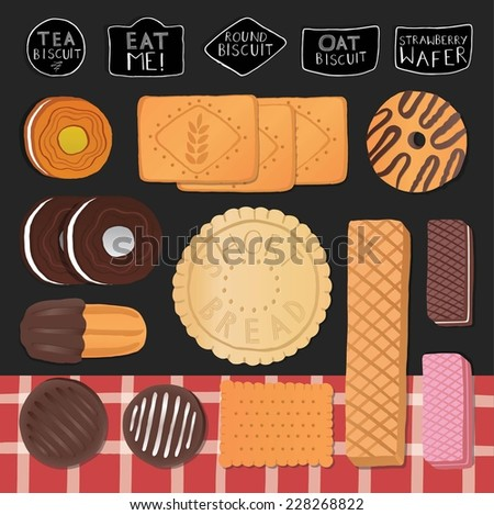 Sweet set with biscuits and different cookies.