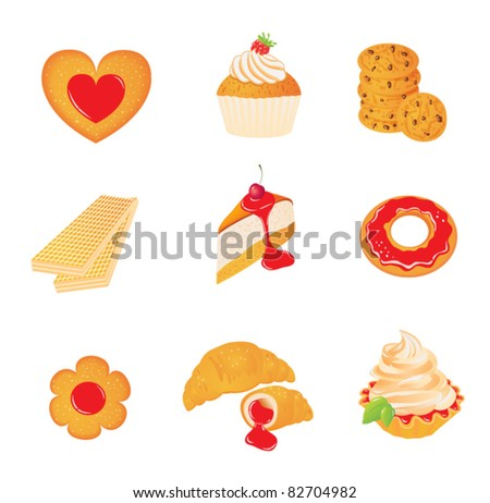 Sweet set with cakes and cookies