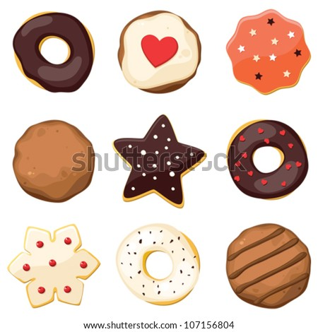 Sweet set with donuts and different cookies