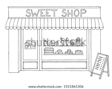 Sweet shop exterior confectionery store graphic black white sketch illustration vector